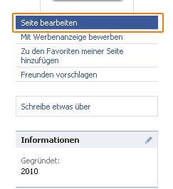"Eigene Facebookseite ""Seite bearbeiten"""