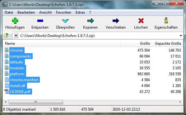 Firefox Erweiterung umgenannt von XPI in ZIP