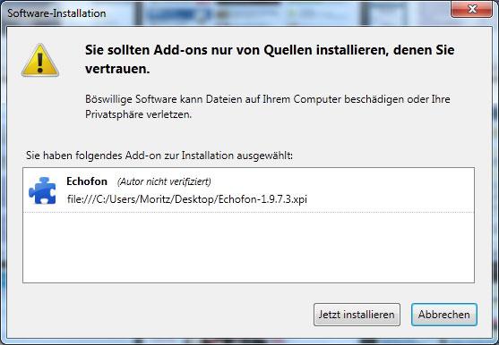 Firefox Erweiterung nach anpassung installieren