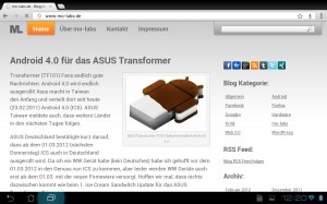 Google Chrome Beta unter Android 4.0