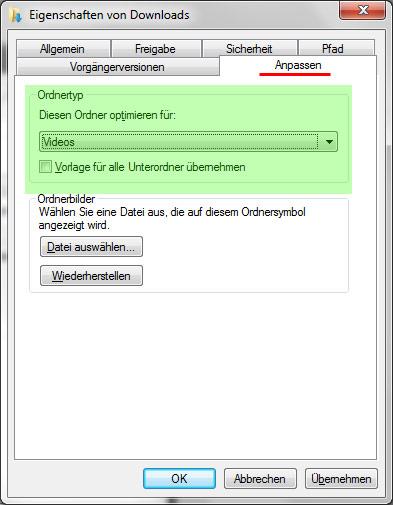 Anpassen der Ordner-Eigenschaften unter Windows 7