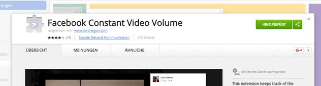 Standard Lautstärke von Facebook Videos einstellen