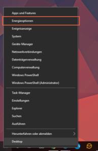 Windows 10 Contextmenü auf dem Startmenü Button