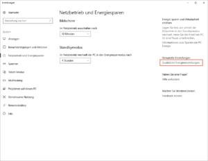 Windows 10 Energieoptionen